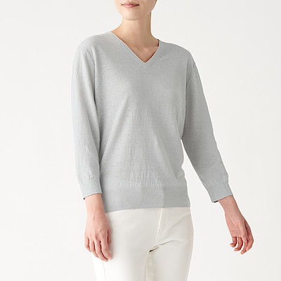 UV컷 프렌치 리넨 · V넥 스웨터