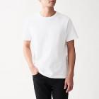 인도 면 저지 · 크루넥 반소매 티셔츠 WHITE