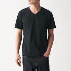 인도 면 저지 · V넥 반소매 티셔츠 BLACK