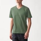 인도 면 저지 · V넥 반소매 티셔츠 KHAKI GREEN