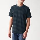 인도 면 저지 · 보더 반소매 티셔츠 BLACKxCHARCOL BORDER