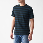 슬러브 저지 · 보더 반소매 티셔츠 DARK NAVYxPATTERN