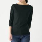 스트레치 후라이스 · 보트넥 7부소매 티셔츠 BLACK