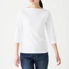 스트레치 후라이스 · 보트넥 7부소매 티셔츠 WHITE