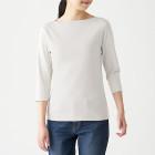 스트레치 후라이스 · 보트넥 7부소매 티셔츠 LIGHT SILVER GRAY