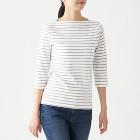 스트레치 후라이스 · 보트넥 7부소매 티셔츠 KHAKI BEIGE*BORDER