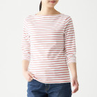 스트레치 후라이스 · 보트넥 7부소매 티셔츠 PINKxBORDER