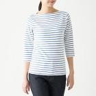 스트레치 후라이스 · 보트넥 7부소매 티셔츠 SMOKY BLUExBORDER