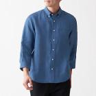 프렌치 리넨 워싱 · 버튼다운 7부소매 셔츠 SMOKY BLUE