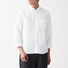 프렌치 리넨 워싱 · 버튼다운 7부소매 셔츠 WHITE