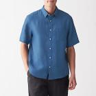 프렌치 리넨 워싱 · 반소매 셔츠 SMOKY BLUE
