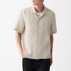 프렌치 리넨 워싱 · 오픈 칼라 반소매 셔츠 RAW WHITE