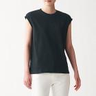 인도 면 저지 · 슬리브리스 티셔츠 BLACK