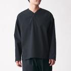 면 혼방 스트레치 · 풀오버 셔츠 BLACK