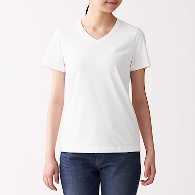 인도 면 저지 · V넥 반소매 티셔츠
