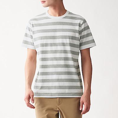 인도 면 저지 · 와이드보더 반소매 티셔츠