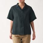 오가닉 리넨 워싱 · 반소매 오픈칼라 셔츠 BLACK
