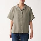 오가닉 리넨 워싱 · 반소매 오픈칼라 셔츠 MOCHA BROWN