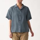 오가닉 리넨 워싱 · 반소매 오픈칼라 셔츠 MEDIUM GRAY