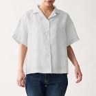 오가닉 리넨 워싱 · 반소매 오픈칼라 셔츠 SILVER GRAY