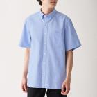 신강면 워싱 옥스포드 · 버튼다운 반소매 셔츠 SAXE BLUE