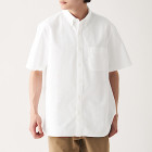 신강면 워싱 옥스포드 · 버튼다운 반소매 셔츠 WHITE
