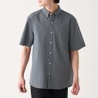 신강면 서커 · 버튼다운 반소매 셔츠 CHARCOAL GRAY
