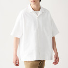 신강면 옥스포드 · 오픈 칼라 반소매 셔츠 WHITE