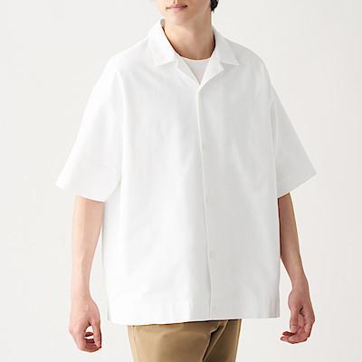 신강면 옥스포드 · 오픈 칼라 반소매 셔츠