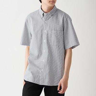 신강면 서커 스트라이프 · 버튼다운 반소매 셔츠