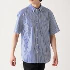신강면 서커 스트라이프 · 버튼다운 반소매 셔츠 SAXE BLUE
