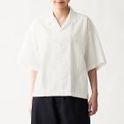 면 포플린 · 오픈 칼라 반소매 셔츠 OFF WHITE