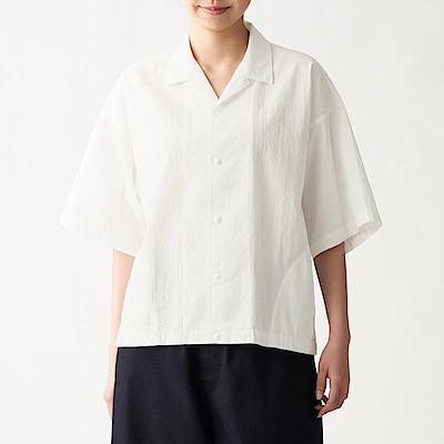면 포플린 · 오픈 칼라 반소매 셔츠