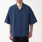 면 포플린 · 오픈 칼라 반소매 셔츠 NAVY