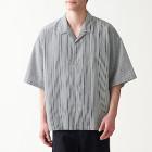 면 포플린 · 오픈 칼라 반소매 셔츠 BLACK STRIPE
