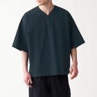 면 포플린 · 풀오버 반소매 셔츠 BLACK