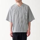 면 포플린 · 풀오버 반소매 셔츠 BLACK STRIPE